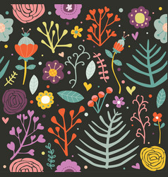 seamless pattern floral black background editable vector image vector image