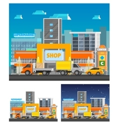 Shopping Center Orthogonal Compositions vector image vector image