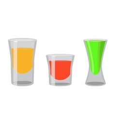 Shot glasses with golden tequila rum brandy vector