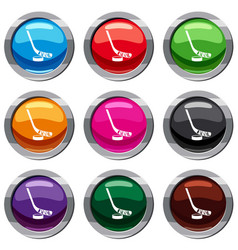 Stick and puck set 9 collection vector