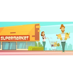 Supermarket shopping outdoor retro cartoon poster vector