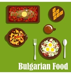 Traditional bulgarian cuisine dishes and drink vector