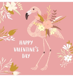 ValentineFlamingo vector image vector image
