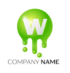 w letter splash green dots and bubbles letter vector image vector image