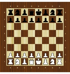 Wooden chess board with pieces vector image