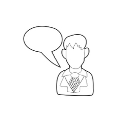 Businessman with a empty speech bubble icon vector image