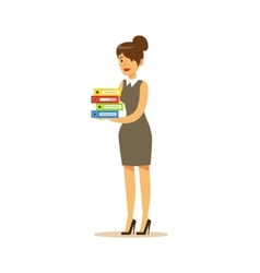 Secretary with pile of folders business office vector