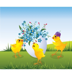 Chickens and easter egg vector