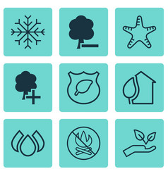 Set of 9 eco-friendly icons includes save world vector