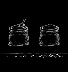chalk sacks with flour and grain vector image