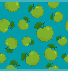 Seamless pattern  apple on azure background vector