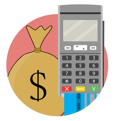 Payment and transfer of money by credit card and vector