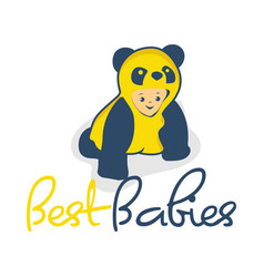 Cute baby with clothes panda vector
