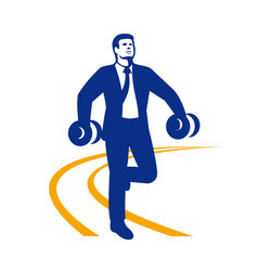 Businessman power walking dumbbells retro vector