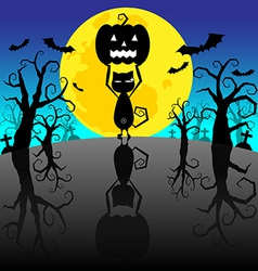 Halloween background with pumpkins and black cat vector