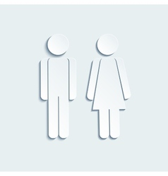 Man and woman icons for toilet or restroom sign vector