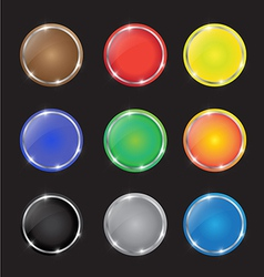 Color button with sparkles vector