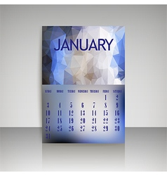 Polygonal 2016 calendar design for january vector