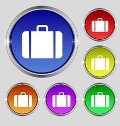 Suitcase icon sign round symbol on bright vector