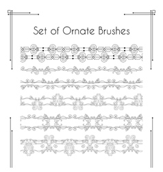 Set of ornate brushes vector