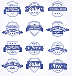 premium quality sales free labels with retro vector image