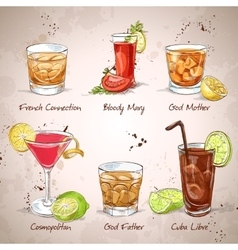 Contemporary classics coctail set vector