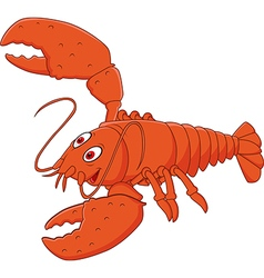 Cartoon happy lobster posing isolated vector