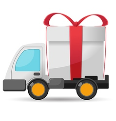 Car delivery gift box isolate vector