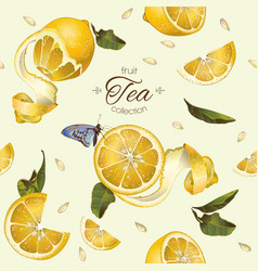 Lemon tea seamless pattern vector image
