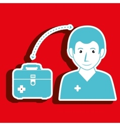 Nurse man and first aid kit isolated icon design vector