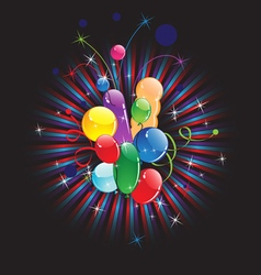 Balloons and festive ribbons vector image