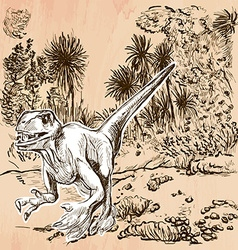 Dino dinosaurs - an hand drawn line art vector