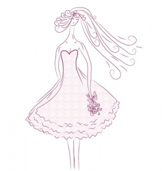 bride sketch in pink colors vector image