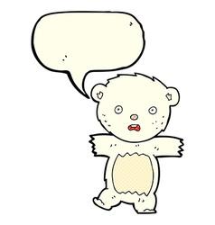 cartoon shocked polar bear cub with speech bubble vector image