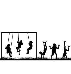 children playing outside vector image