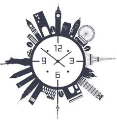 Clock in black and white vector