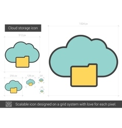 Cloud storage line icon vector image