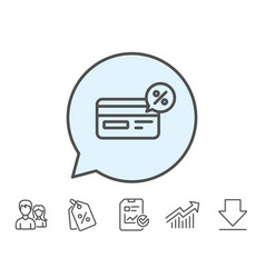 Credit card line icon cashback service vector