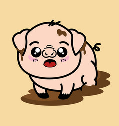 cute and dirty pig cartoon vector image