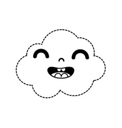 Dotted shape happy and cute cloud kawaii weather vector