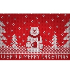 Knitted white bear wish u a merry christmas vector image