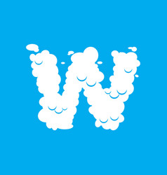 Letter w cloud font symbol white alphabet sign on vector