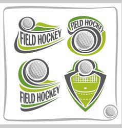 logo field hockey ball vector image vector image