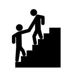 Man helping climb other man vector