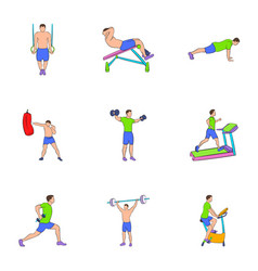 Physical exercises icons set cartoon style vector