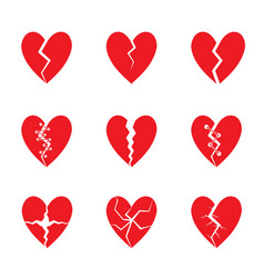 Red heart set vector