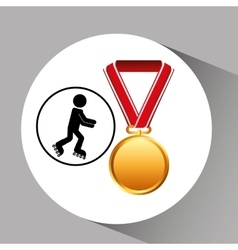 Roller skating medal sport extreme graphic vector