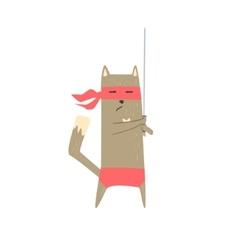 Samurai cat with sword vector