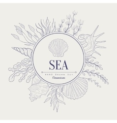 Sea vintage sketch vector