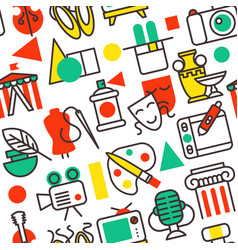 set of outline art icons in flat design symbols vector image